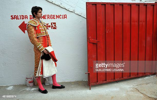 French bullfighter Sebastian Castella stays in standby before a bullfight at Cesar Rincon bullring in Duitama department of Boyaca Colombia on...
