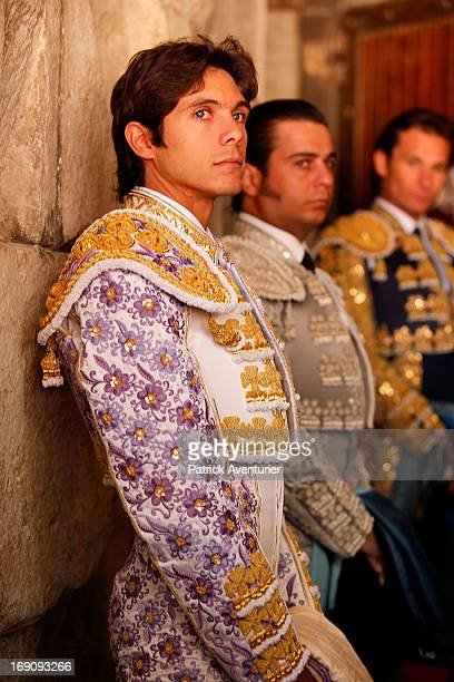 French bullfighter Sebastien Castella stands alongside other matadors during the 61st annual Pentecost Feria de Nimes at Nimes Arena on May 19 2013...