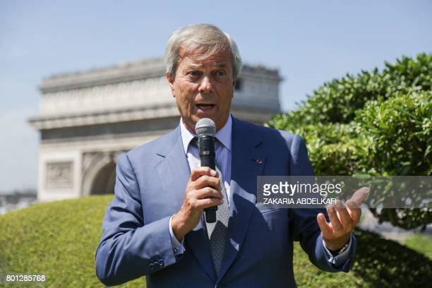 French businesman Vincent Bollore chairman and CEO of the investment group Bollore and president of the supervisory board of French multinational...