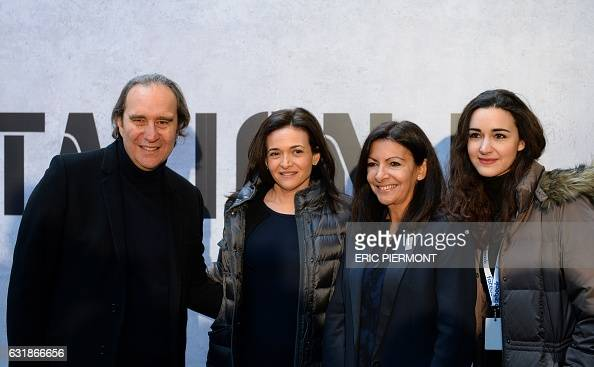 French businessman and founder of startup incubator 'Station F' Xavier Niel Facebook Chief Operating Officer Sheryl Sandberg Paris' mayor Anne...