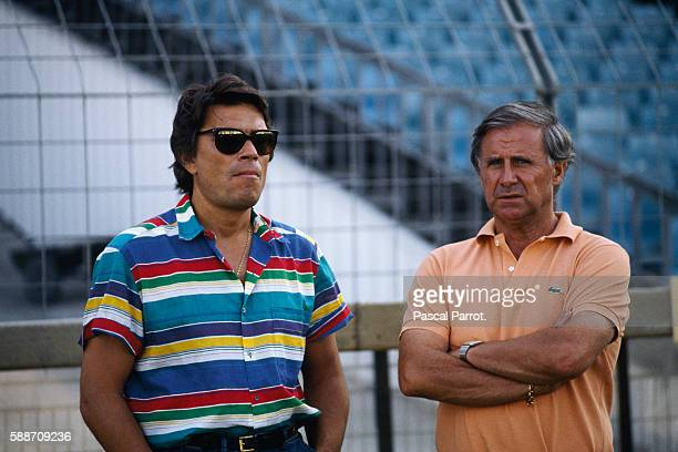 French businessman and owner of soccer team Olympique de Marseille Bernard Tapi with the team's trainer Michel Hidalgo during training