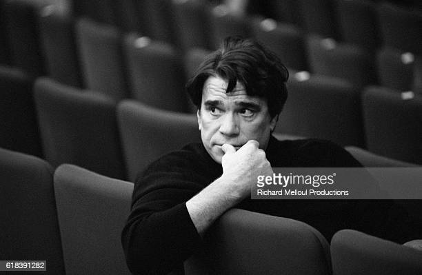 French businessman and politician Bernard Tapie takes a break from rehearsal at the Theatre de Paris He is staring in a stage version of the Ken...