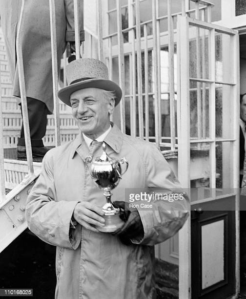 French businessman and racehorse owner Pierre Wertheimer with the trophy after his horse Lavandin ridden by Rae Johnstone won the Epsom Derby 6th...