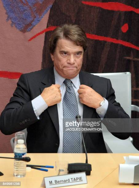 French businessman Bernard Tapie attends a hearing of the financial commission of the National Assembly on September 10 2008 in Paris after the...