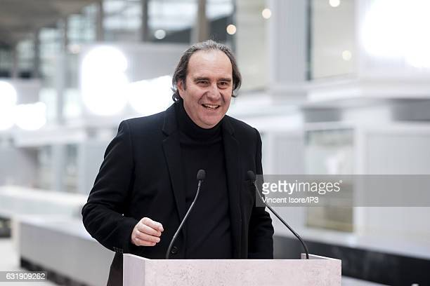 French businessman Xavier Niel delivers a speech to announce that Facebook will hold a plan to support startups during a press conference at the...