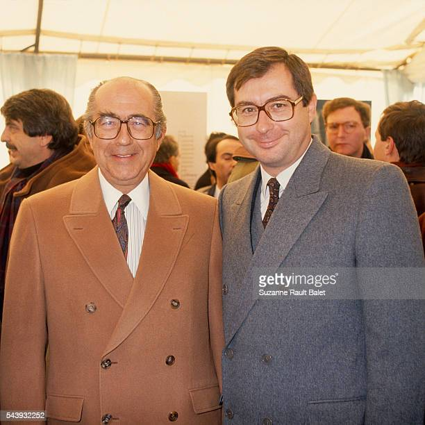 French businessmen Francis and Martin Bouygues attend ceremony of the laying of the first stone at the new TF1 headquarters in Boulogne