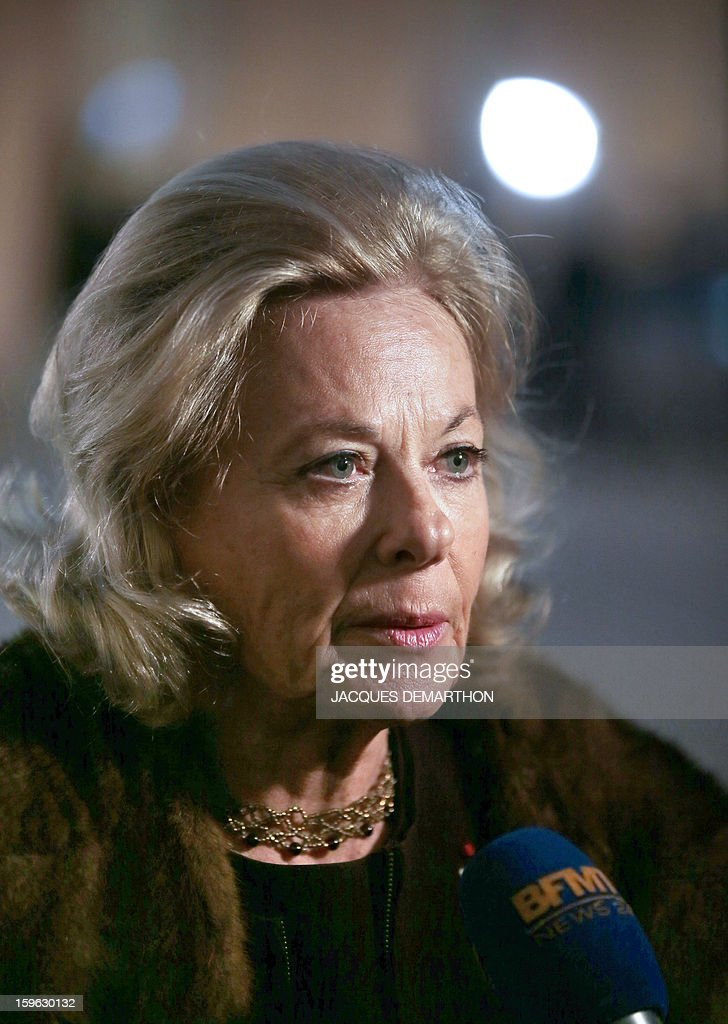 French businesswoman Sophie de Menthon, president of 'Ethic' committee and member of the Economic, Social and Environmental Council of France (CESE) speaks to journalists as she leaves the Elysee Palace in Paris, on January 17, 2013, after a New Year wishes ceremony to union representatives and businessmen, at the Elysee presidential Palace in Paris.