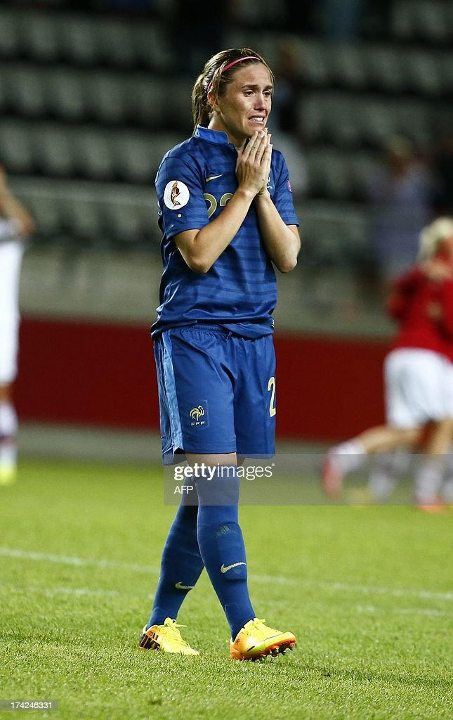 French Camile Abily reacts after losing in the penalty shootout of the UEFA Women's European Championship Euro 2013 quarter final football match France vs Denmark on July 22, 2013 in Linkoping, Sweden.