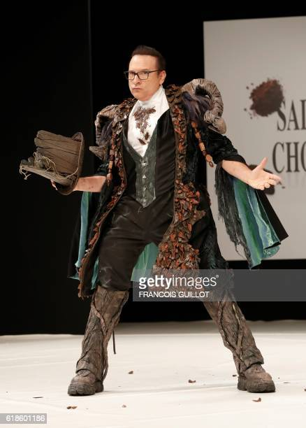 French Canadian ballroom dance champion JeanMarc Genereux presents a creation by Cassandra Allaire and chocolatier JeanLuc Decluzeau during the 22nd...