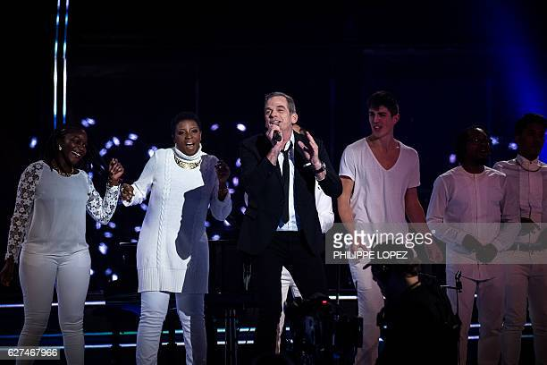 French Canadian singer Garou performs during the evening of the 2016 French Telethon fundraising television event against muscular dystrophy on...