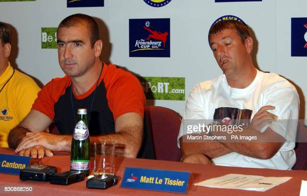 French captain Eric Cantona and England player Matt Le Tissier as a press conference at the Brighton Metropole Hotel during the Kronenbourg Cup beach...