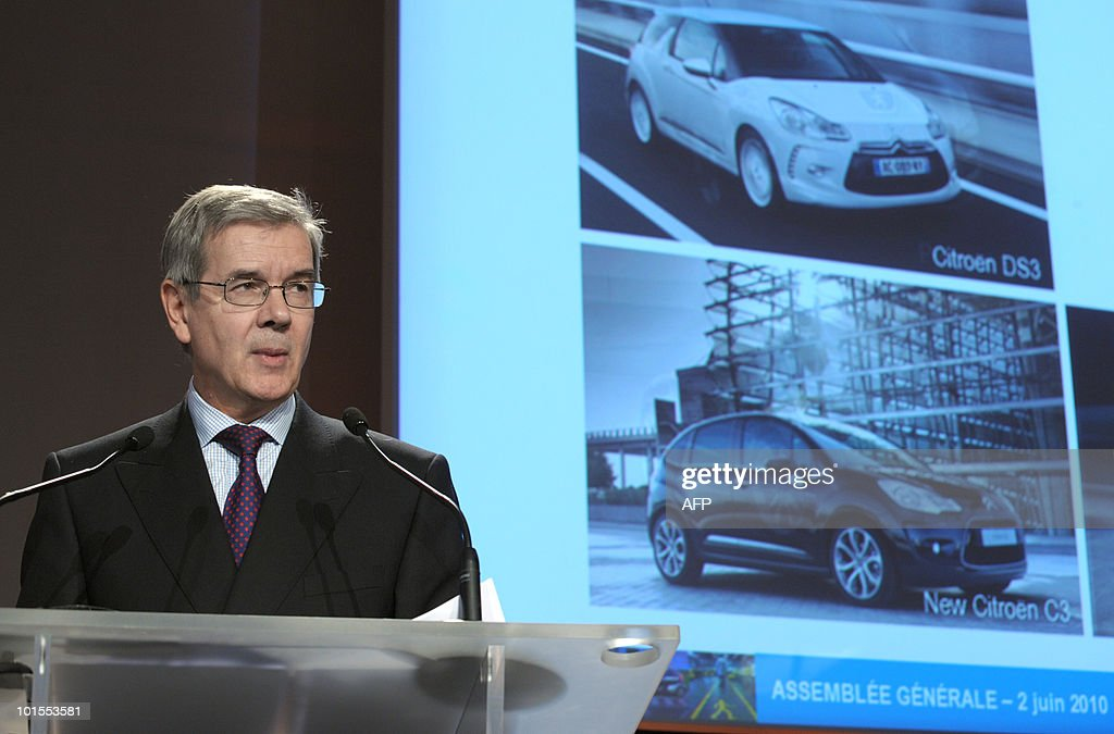 French carmaker PSA Peugeot Citroen's new chairman of the managing board, Philippe Varin, delivers a speech during the general assembly of the group on June 2, 2010 in Paris. Varin declared today that PSA do not plan to launch a low cost vehicle and that its middle-range new car, to be built in Vigo in Spain, will not be sold in Western Europe.