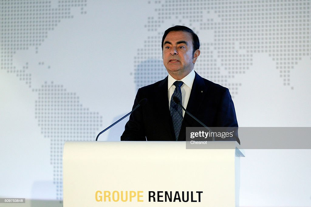 French carmaker Renault CEO <a gi-track='captionPersonalityLinkClicked' href=/galleries/search?phrase=Carlos+Ghosn&family=editorial&specificpeople=215025 ng-click='$event.stopPropagation()'>Carlos Ghosn</a> talks to media during the financial annual results presentation at the group headquarters on February 12, 2016 in in Boulogne-Billancourt, France. Renault announced Friday a 10% increase of its turnover in 2015 to 45.3 billion euros and profit of 2.9 billion up 48% from the previous year.