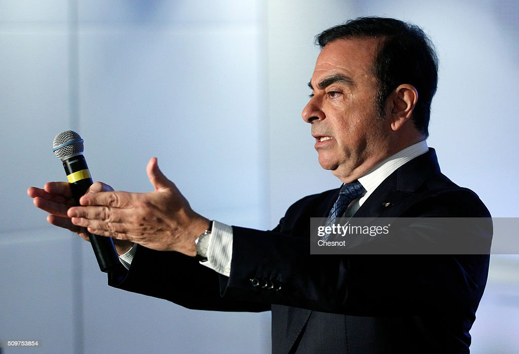 French carmaker Renault CEO Carlos Ghosn talks to media during the financial annual results presentation at the group headquarters on February 12, 2016 in in Boulogne-Billancourt, France. Renault announced Friday a 10% increase of its turnover in 2015 to 45.3 billion euros and profit of 2.9 billion up 48% from the previous year.