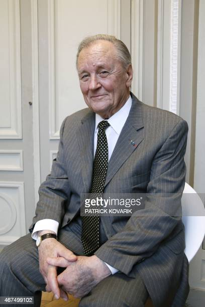 French cartoon artist Albert Uderzo poses after a press conference at the Monnaie de Paris in Paris on March 25 2015 during which a new series of...