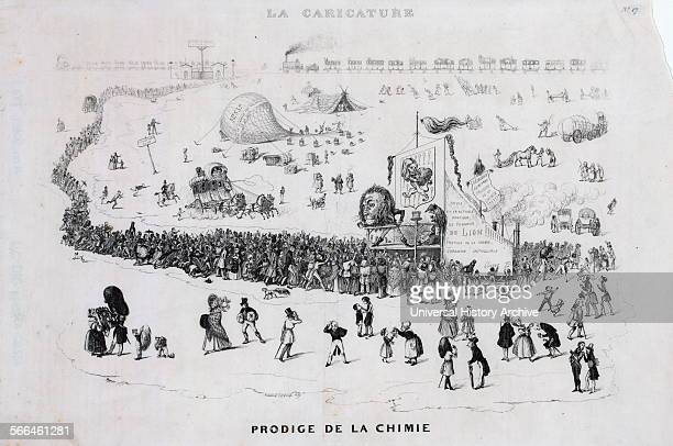 French cartoon shows a long line of people with more arriving by stagecoach and railroad at a medicine show where a quack with a lion's head the...