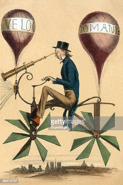 French cartoon shows a man riding on a bicyclelike flying machine while looking through a telescope attached to the front Two balloons 'Velocipedes]'...