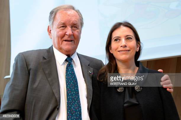 French cartoonist and author Albert Uderzo and the daughter of late French author and cartoonist Rene Goscinny Anne Goscinny take part in a press...