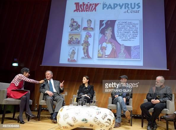 French cartoonist and author Albert Uderzo the daughter of late French author and cartoonist Rene Goscinny Anne Goscinny the coauthor of the popular...