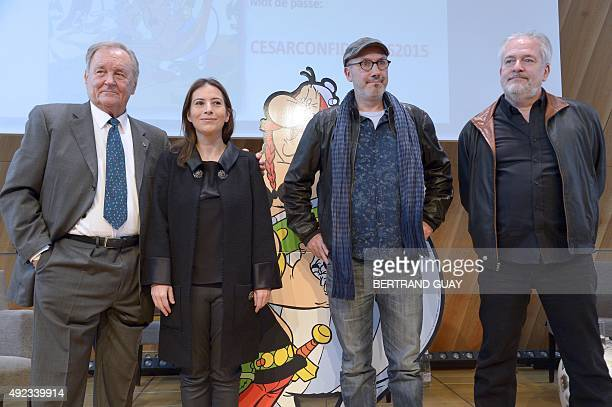 French cartoonist and author Albert Uderzo the daughter of late French author and cartoonist Rene Goscinny Anne Goscinny the coauthor of the popular...
