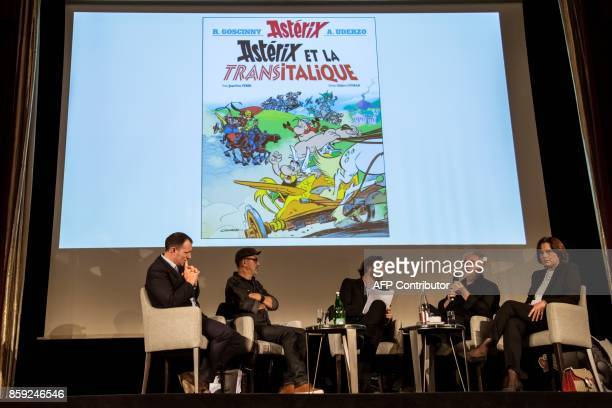 French cartoonist Didier Conrad and French writer and designer JeanYves Ferri give a press conference for the release of the comic's new album...