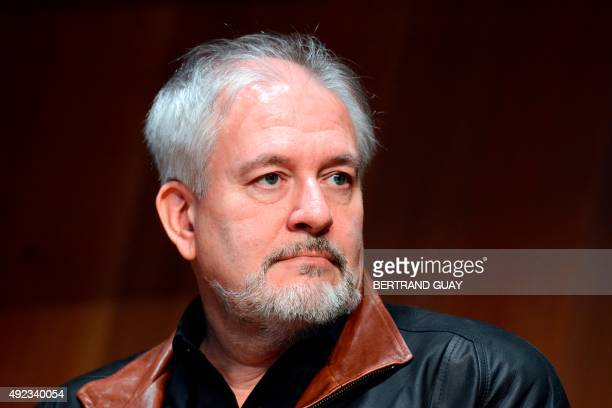 French cartoonist Didier Conrad takes part in a press conference in Paris on October 12 2015 for the release of the new Asterix album 'Le Papyrus de...