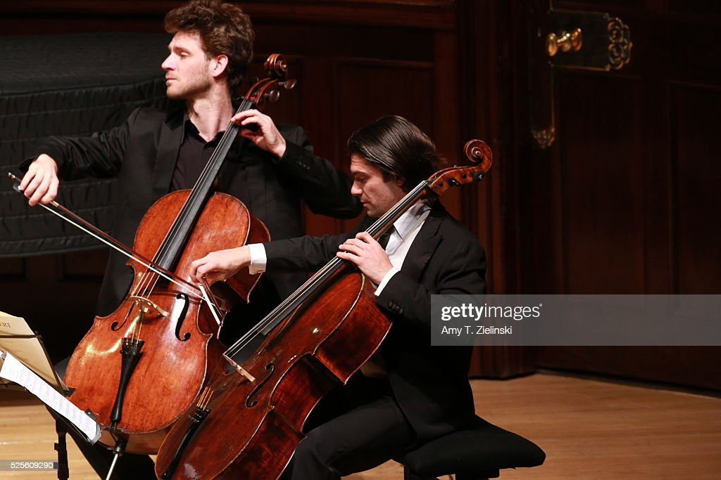 French cellist Gautier Capucon joins Quatuor Ebene with Raphael Merlin (L) on cello for a performance of Franz Schubert's String Quintet in C major D956 at Wigmore Hall on April 28, 2016 in London, England.