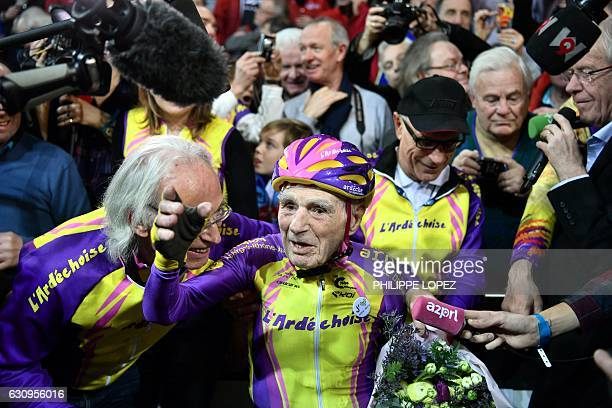 French centenarian cyclist Robert Marchand 105 reacts after setting a onehour track cycling World record at 22547m in the over105 age group at the...