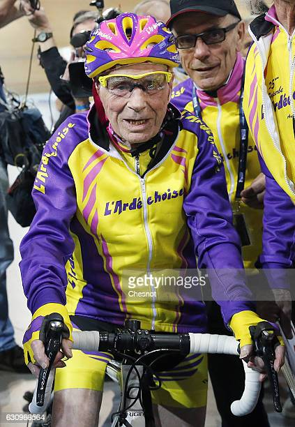French centenarian cyclist Robert Marchand aged 105 prepares to start his attempt to set a onehour track cycling World record in the over105 age...