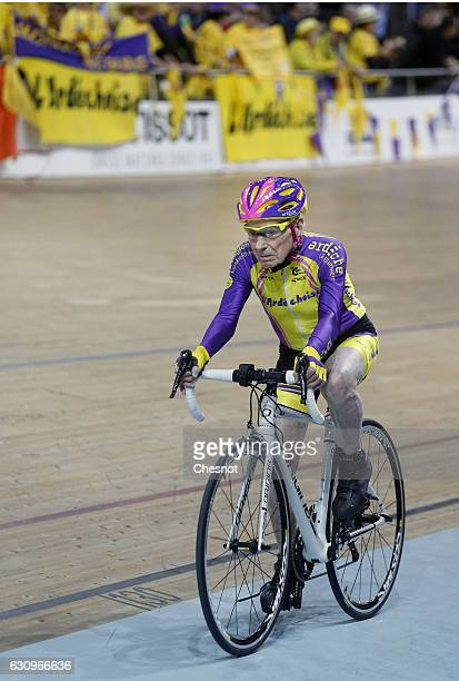 French centenarian cyclist Robert Marchand aged 105 rides in his attempt to set a onehour track cycling World record in the over105 age group at the...