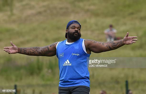 French center Mathieu Bastareaud gestures during a training session as part of the preparation of the Rugby Union World Cup 2015 on July 19 2015 in...