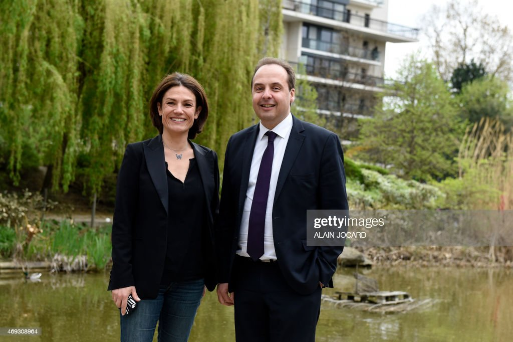 French center-right UDI party president <a gi-track='captionPersonalityLinkClicked' href=/galleries/search?phrase=Jean-Christophe+Lagarde&family=editorial&specificpeople=7499467 ng-click='$event.stopPropagation()'>Jean-Christophe Lagarde</a> (R) and French Senator <a gi-track='captionPersonalityLinkClicked' href=/galleries/search?phrase=Chantal+Jouanno&family=editorial&specificpeople=5673060 ng-click='$event.stopPropagation()'>Chantal Jouanno</a>, UDI candidate for the December 2015 French regional elections in the Ile-de-France region, pose for a picture in a park in Paris on April 11, 2015, during the UDI national council.
