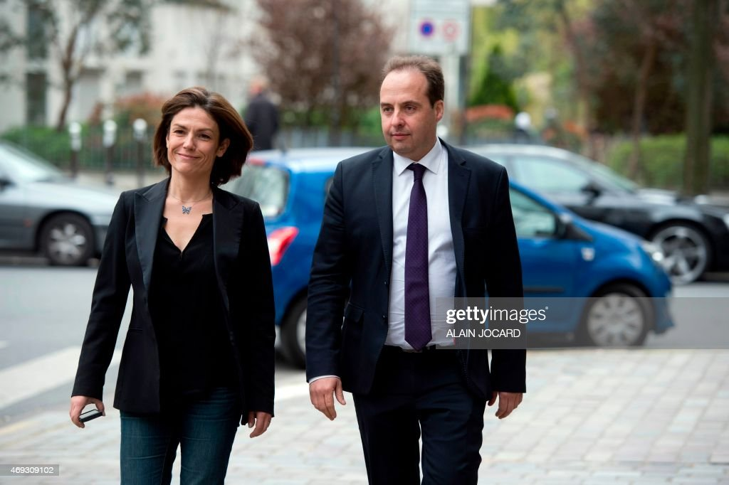 French center-right UDI party president <a gi-track='captionPersonalityLinkClicked' href=/galleries/search?phrase=Jean-Christophe+Lagarde&family=editorial&specificpeople=7499467 ng-click='$event.stopPropagation()'>Jean-Christophe Lagarde</a> (R) and French Senator <a gi-track='captionPersonalityLinkClicked' href=/galleries/search?phrase=Chantal+Jouanno&family=editorial&specificpeople=5673060 ng-click='$event.stopPropagation()'>Chantal Jouanno</a>, UDI candidate for the December 2015 French regional elections in the Ile-de-France region, walk in the street in Paris on April 11, 2015, during the UDI national council.