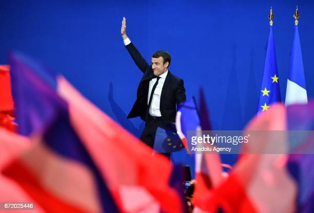 French centrist independent candidate Emmanuel Macron addresses supporters after winning the lead percentage of votes with 24 percent in the first...