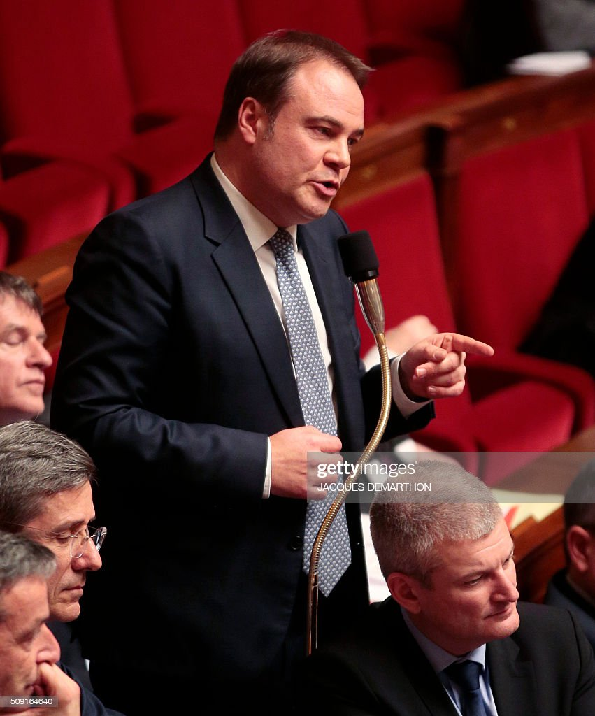 French centrist UDI party MP Laurent Degallaix speaks during a debate at the French National Assembly in Paris on February 9, 2016, as French lawmakers examined proposed changes to the constitution. France's lower house of parliament is to vote on plans to enshrine a state of emergency into the constitution, including a controversial measure to strip French nationality from those convicted of terrorism and serious crimes. / AFP / JACQUES DEMARTHON