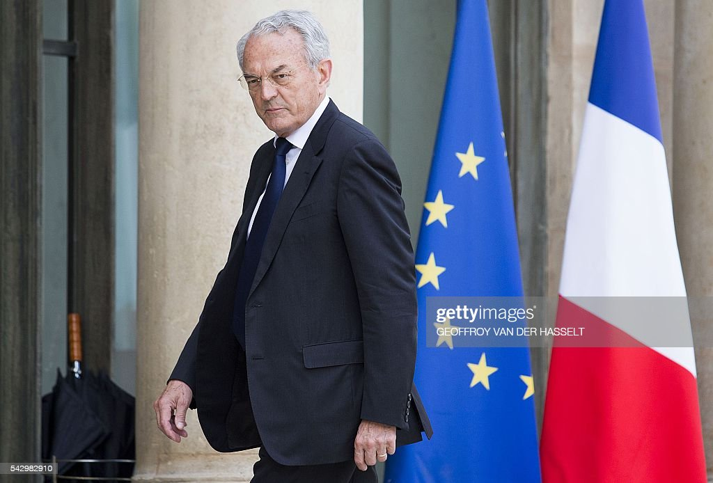 French centrist Union of Independents Democrats (UDI) party member and senator Jean Arthuis arrives for a meeting with French President on June 25, 2016 at the Elysee Palace in Paris, after Britain voted to leave the European Union a day before. Europe's press was awash with gloom and doom over Brexit on June 25, warning that it was a boon for nationalists while urging EU leaders to meet the challenge of their 'rendezvous with history'. / AFP / GEOFFROY