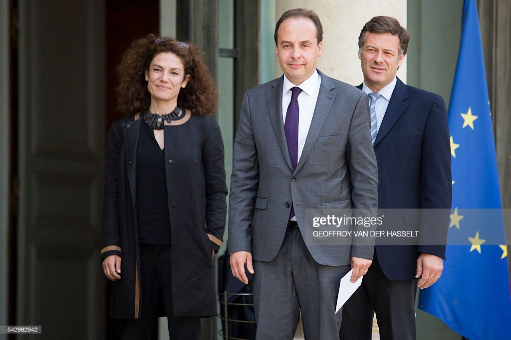French centrist Union of Independents Democrats (UDI) party president Jean-Christophe Lagarde (C), UDI senator Chantal Jouanno (L) and UDI MP Arnaud Richard (R), arrive for a meeting with French President on June 25, 2016 at the Elysee Palace in Paris, after Britain voted to leave the European Union a day before. Europe's press was awash with gloom and doom over Brexit on June 25, warning that it was a boon for nationalists while urging EU leaders to meet the challenge of their 'rendezvous with history'. / AFP / GEOFFROY