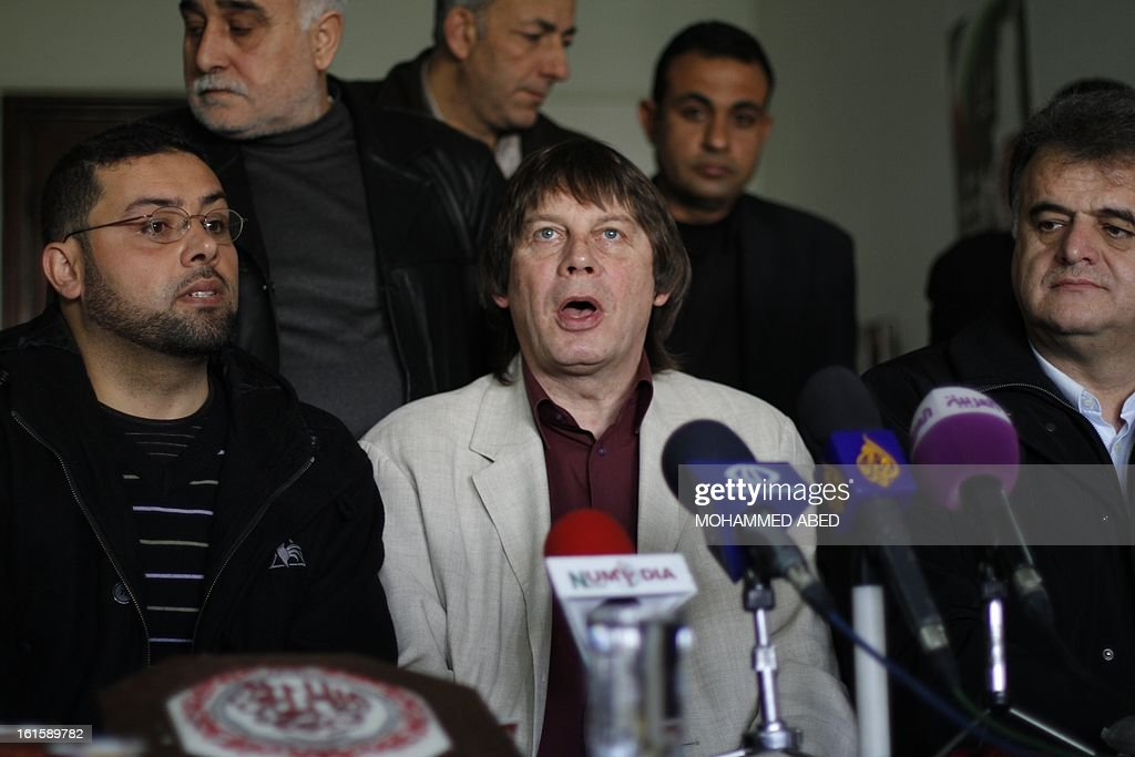 French CGT labour union leader Bernard Thibault deleivers a speech during his visit to Gaza City on February 12, 2013. Thibault's is on his first visit to the Palestinian territories following an invitation by the Palestinian PGFTU union.