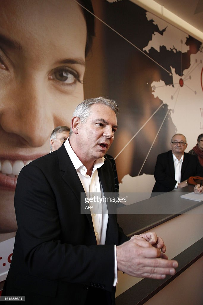 French CGT labour union leader Thierry Lepaon talks to journalists during a forum to prepare the 50th CGT's congress, on February 12, 2013 in Caen, northwestern France.