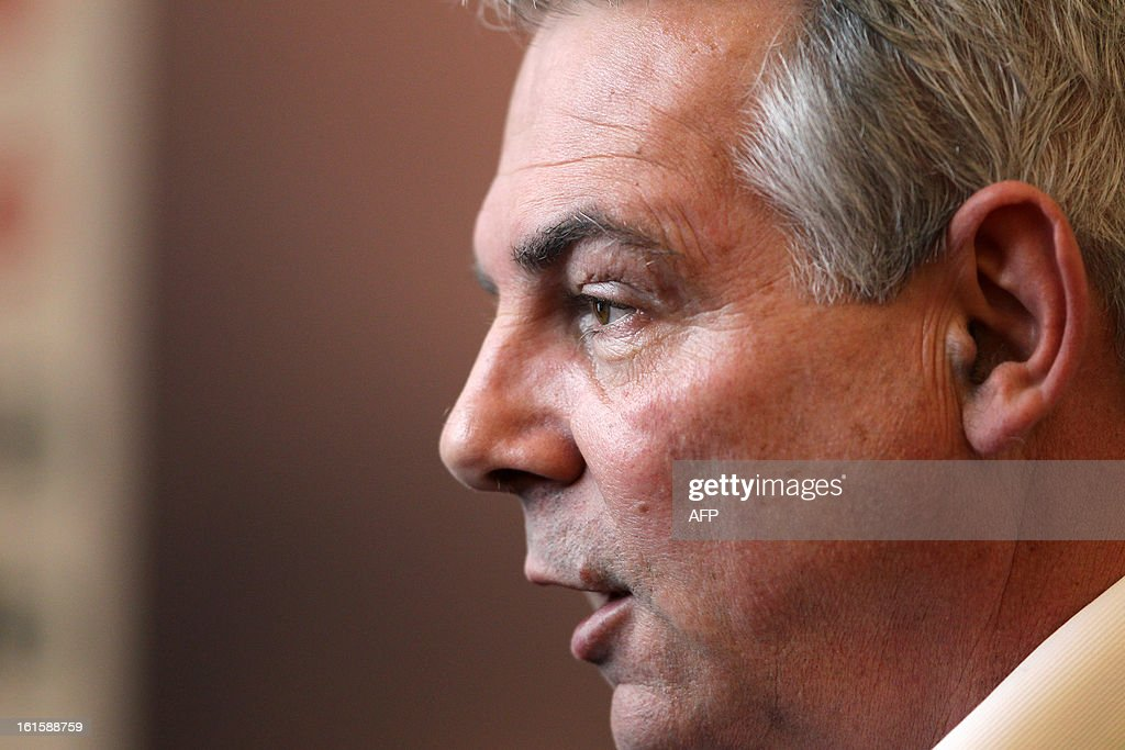 French CGT labour union leader Thierry Lepaon talks to journalists during a forum to prepare the 50th CGT's congress, on February 12, 2013 in Caen, northwestern France. AFP PHOTO/CHARLY TRIBALLEAU