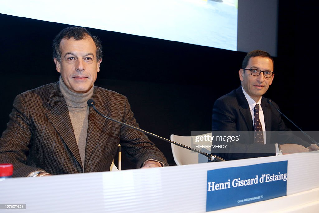 French Chairman and CEO of holiday group Club Mediterranee, Henri Giscard d'Estaing (L) and CFO, Michel Wolfovski (R) announce 2012 results during a press conference on December 7, 2012 in Paris. French holiday group Club Mediterranee posted a stable net profit of 2 million euros ($2.6 million) for its 2012 reporting year despite a slowdown in its main market in Europe as it continued to target developing markets including China.