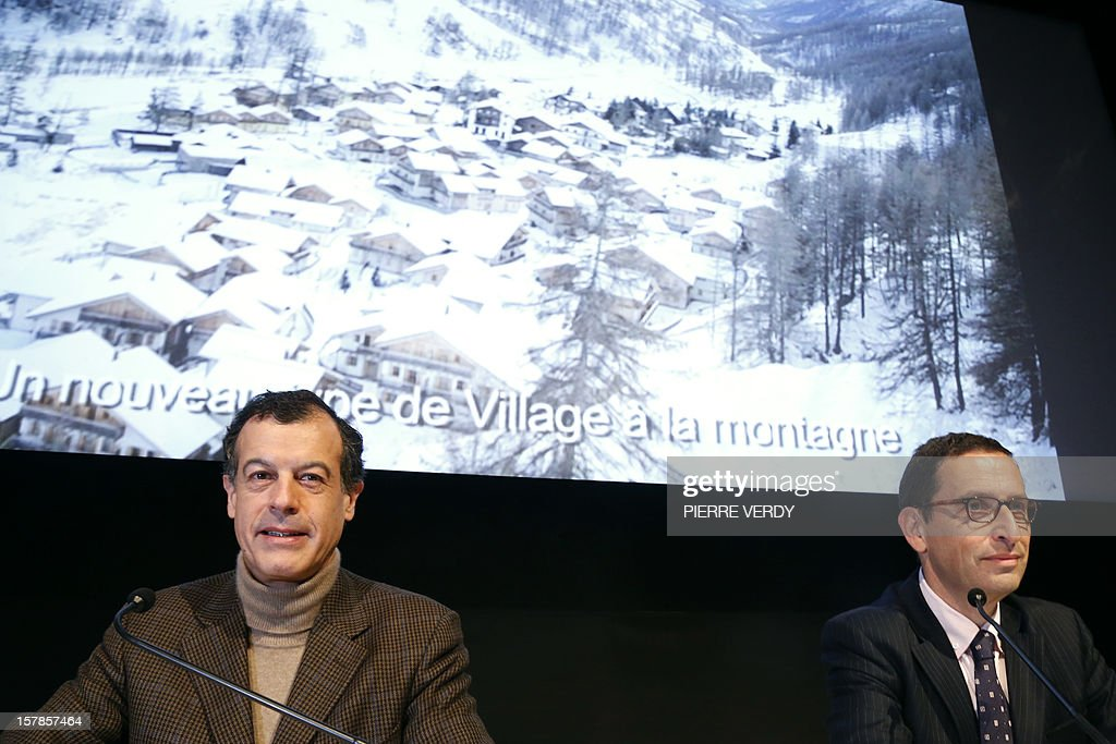 French Chairman and CEO of holiday group Club Mediterranee, Henri Giscard d'Estaing (L) and CFO, Michel Wolfovski (R) announce 2012 results during a press conference on December 7, 2012 in Paris. French holiday group Club Mediterranee posted a stable net profit of 2 million euros ($2.6 million) for its 2012 reporting year despite a slowdown in its main market in Europe as it continued to target developing markets including China. AFP PHOTO PIERRE VERDY