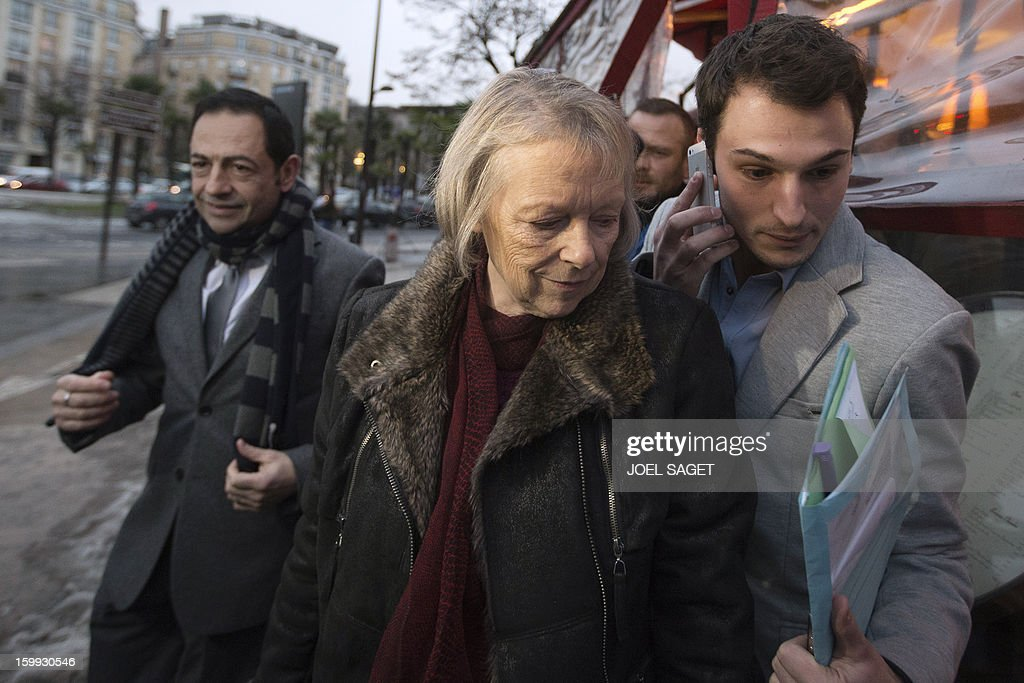 French Charlotte Cassez mother of French national Florence Cassez who is serving a 60year sentence for kidnapping in a Mexican prison flanked by...