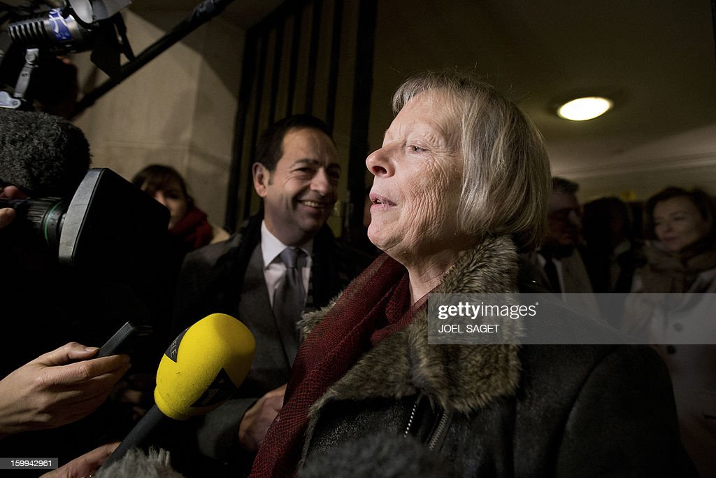French Charlotte Cassez mother of French national Florence Cassez who was released from prison answers journalists questions on January 23 2013 in...