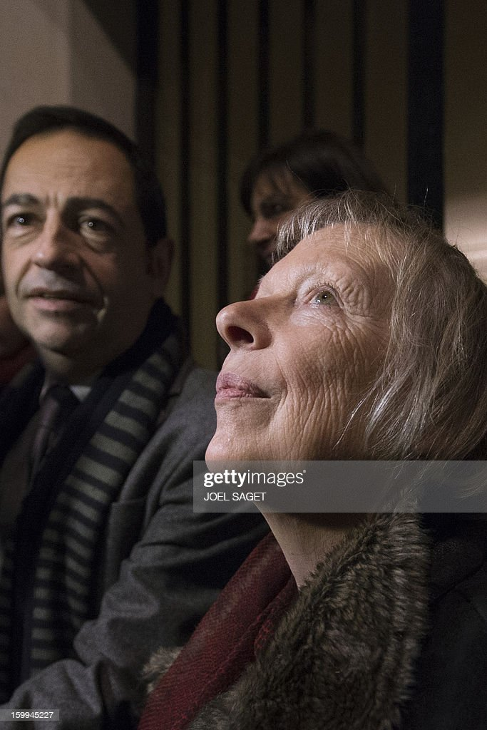 French Charlotte Cassez mother of French national Florence Cassez who was released from prison looks on as she answers journalists questions on...