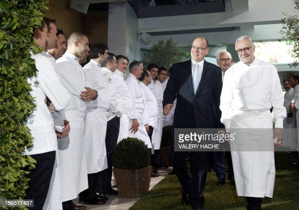 French chef Alain Ducasse and Prince's Albert II of Monaco arrive for the festivities marking the 25th anniversary of Ducasse's restaurant 'Le Louis...