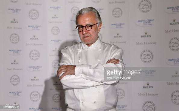 French chef Alain Ducasse poses during the festivities marking the 25th anniversary of Ducasse's restaurant 'Le Louis XV' on November 17 2012 in...