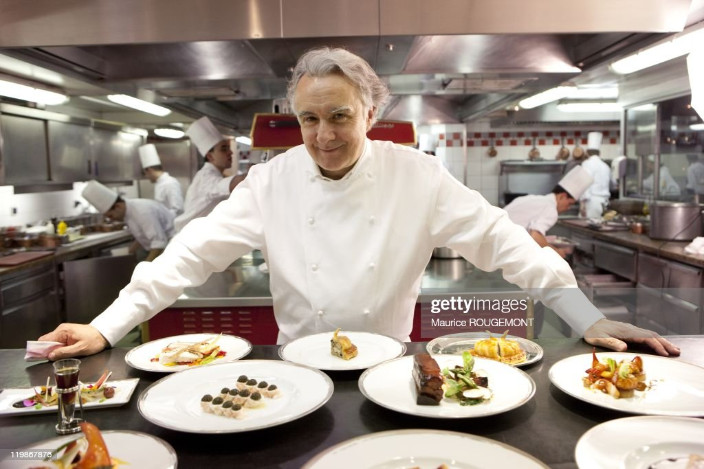 French Chef <a gi-track='captionPersonalityLinkClicked' href=/galleries/search?phrase=Alain+Ducasse&family=editorial&specificpeople=571915 ng-click='$event.stopPropagation()'>Alain Ducasse</a> poses in Plaza Athenee Hotel on April 3, 2010, in Paris, France.