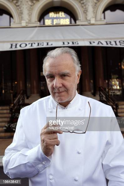 French chef Alain Ducasse poses outside the 'Hotel de Paris' in Monaco ahead of celebrations marking the 25th anniversary of his restaurant the...