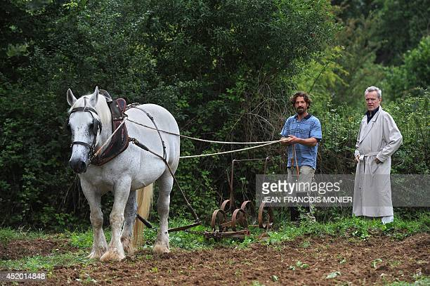 French chef Alain Passard looks on as an aide conducts a horse to plow the soil of Passard's vegetable garden in FillesurSarthe western France on...